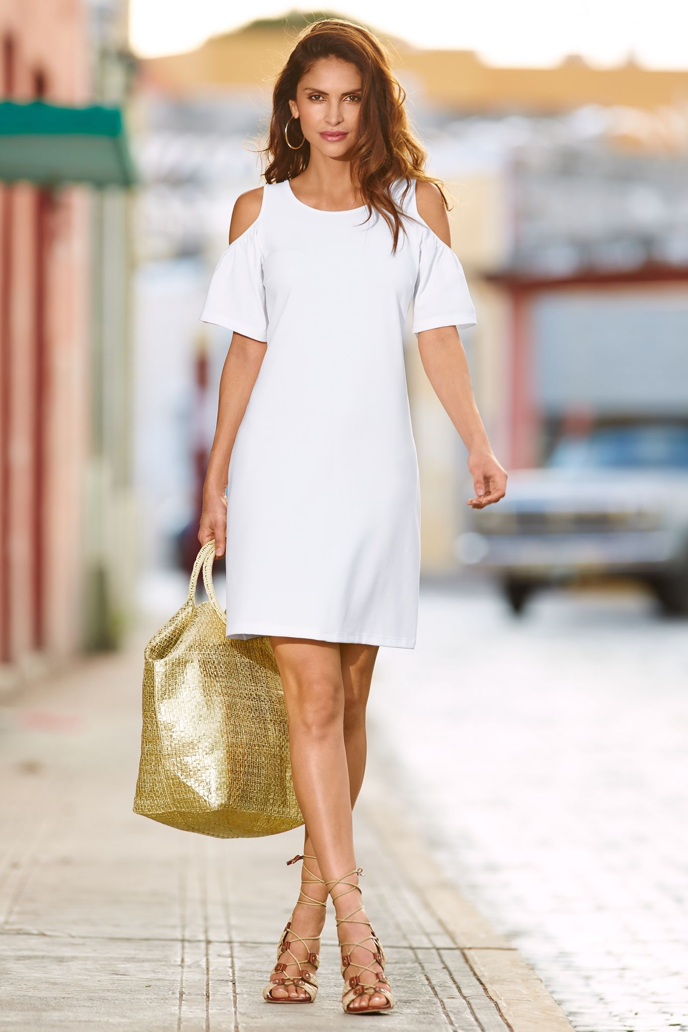 White Cold Shoulder Dress Outfit Ideas