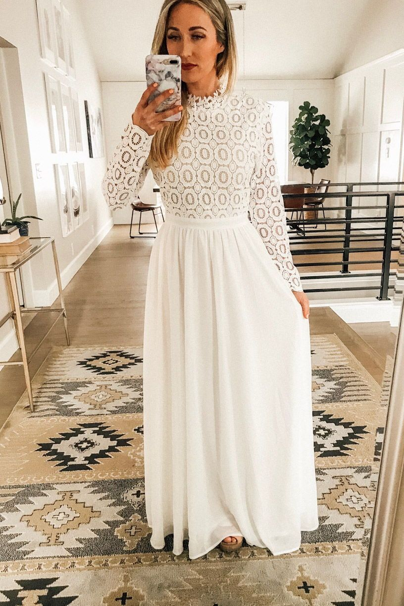 White Floor Length Dress Outfits