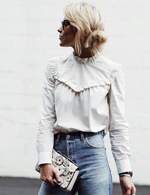 White Ruffle Blouse Outfit Ideas