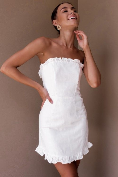 White Strapless Dress Outfit Ideas