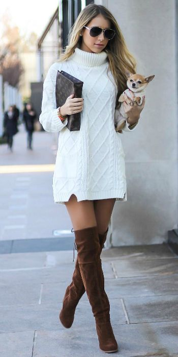 White Sweater Dress Outfit Ideas