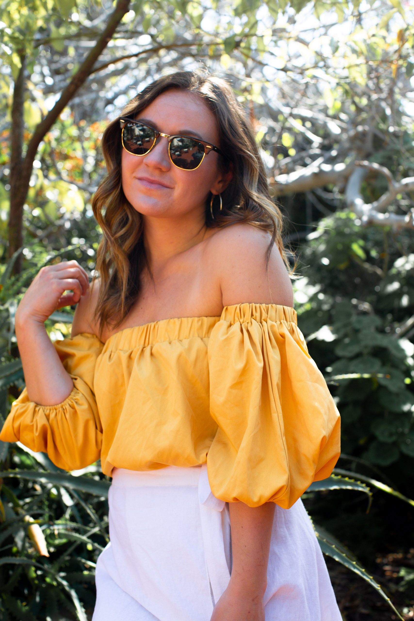 Yellow Off Shoulder Top Outfits